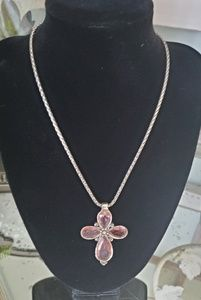 Pink crystal cross necklace